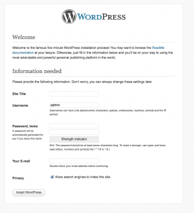 Wordpress Initialise